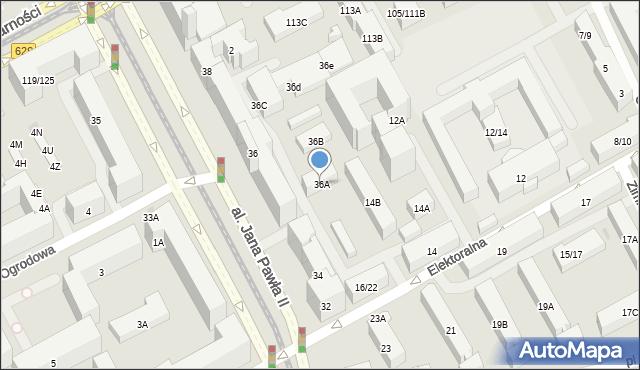 Warszawa, Aleja Jana Pawła II, 36A, mapa Warszawy