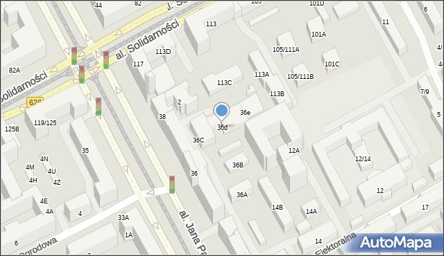 Warszawa, Aleja Jana Pawła II, 36d, mapa Warszawy