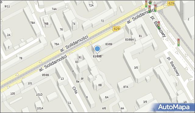Warszawa, Aleja Solidarności, 83/89B, mapa Warszawy