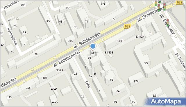 Warszawa, Aleja Solidarności, 91, mapa Warszawy