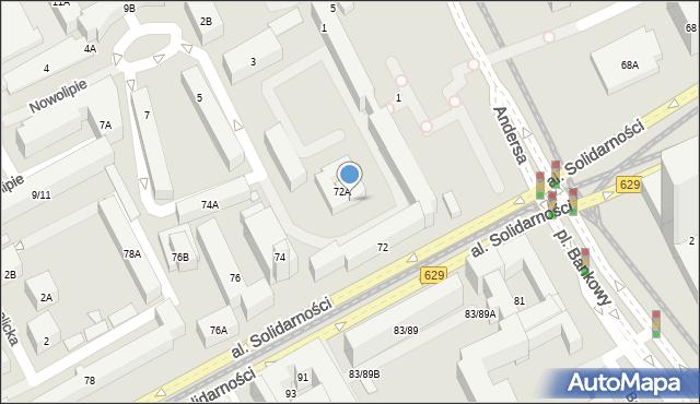 Warszawa, Aleja Solidarności, 72b, mapa Warszawy