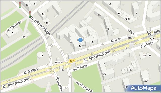 Warszawa, Aleja 3 Maja, 14, mapa Warszawy