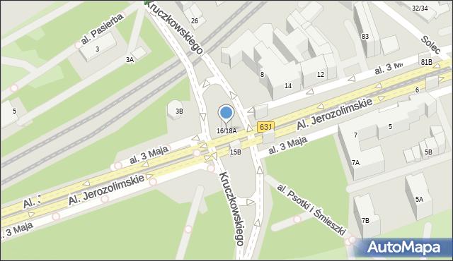 Warszawa, Aleja 3 Maja, 16/18A, mapa Warszawy