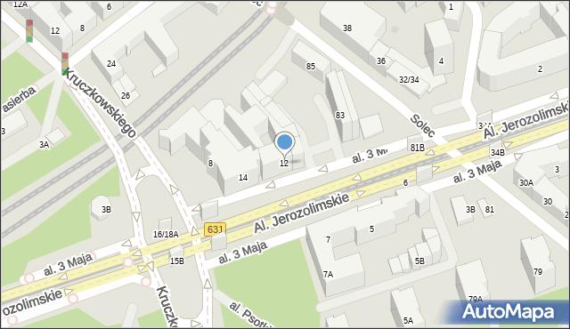 Warszawa, Aleja 3 Maja, 12, mapa Warszawy