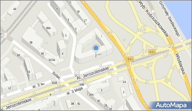 Warszawa, Aleja 3 Maja, 2, mapa Warszawy