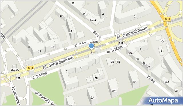 Warszawa, Aleja 3 Maja, 6, mapa Warszawy