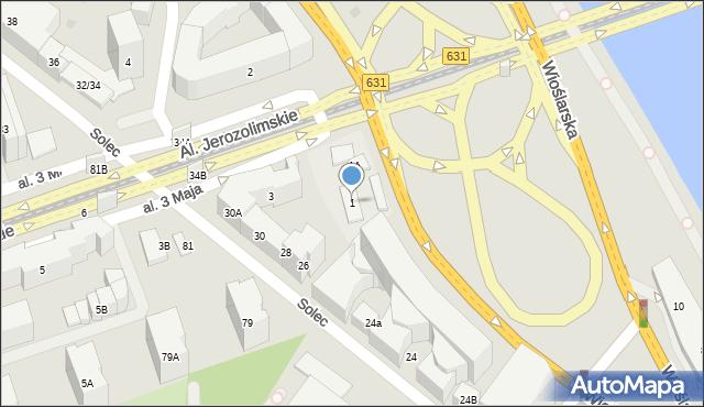 Warszawa, Aleja 3 Maja, 1, mapa Warszawy