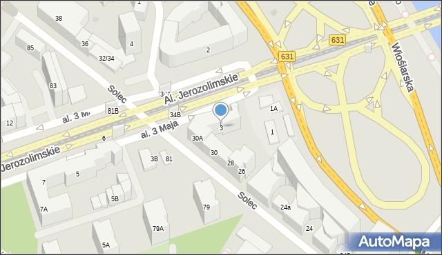 Warszawa, Aleja 3 Maja, 3, mapa Warszawy