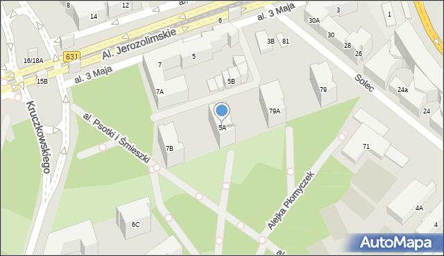 Warszawa, Aleja 3 Maja, 5A, mapa Warszawy