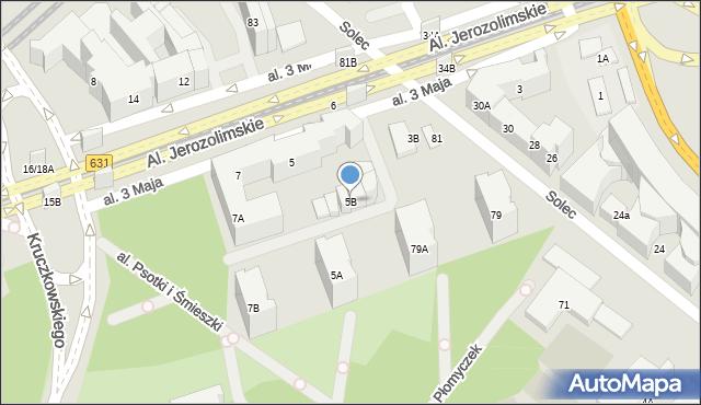 Warszawa, Aleja 3 Maja, 5B, mapa Warszawy