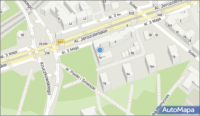 Warszawa, Aleja 3 Maja, 7A, mapa Warszawy