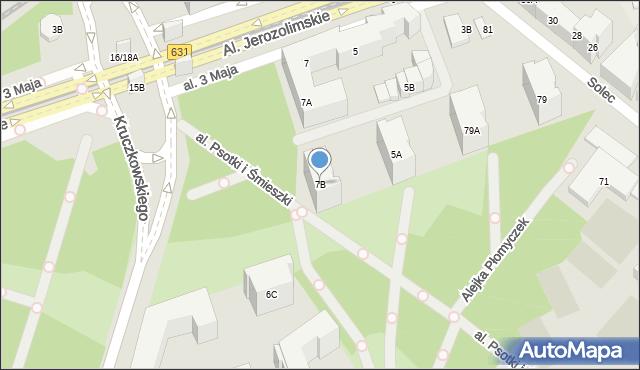 Warszawa, Aleja 3 Maja, 7B, mapa Warszawy