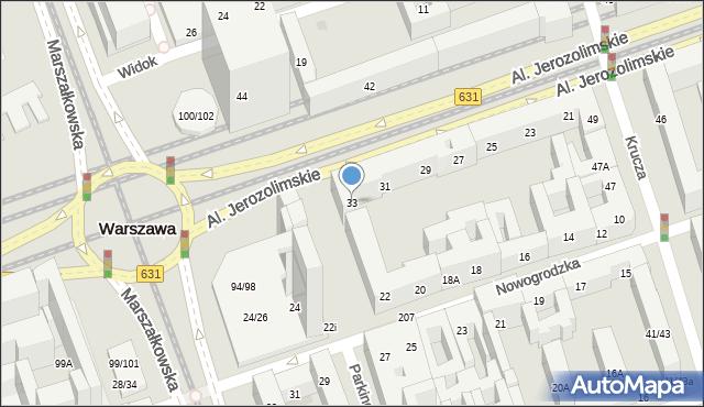 Warszawa, Aleje Jerozolimskie, 33, mapa Warszawy