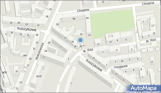 Warszawa, Aleja Róż, 16, mapa Warszawy