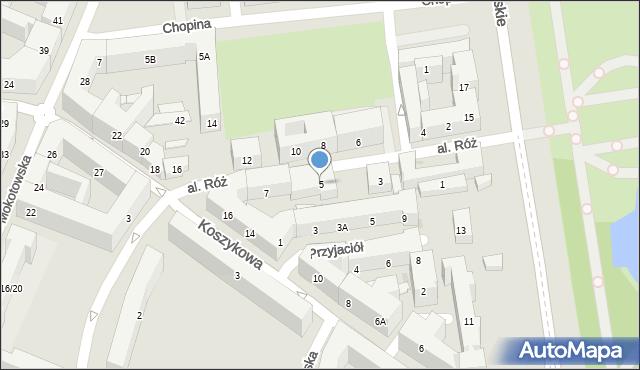 Warszawa, Aleja Róż, 5, mapa Warszawy