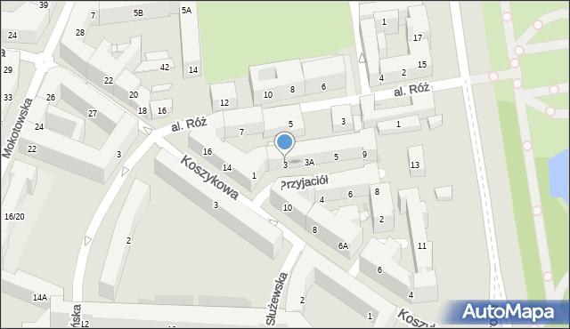 Warszawa, Aleja Przyjaciół, 3, mapa Warszawy