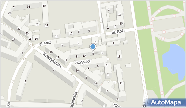Warszawa, Aleja Przyjaciół, 5, mapa Warszawy