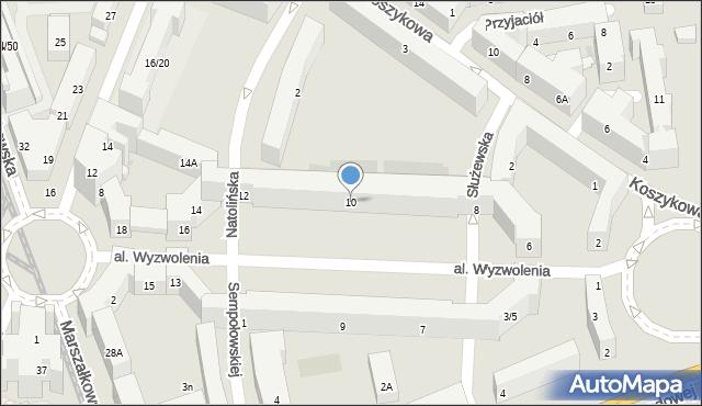 Warszawa, Aleja Wyzwolenia, 10, mapa Warszawy