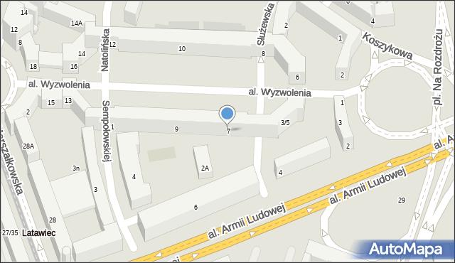 Warszawa, Aleja Wyzwolenia, 7, mapa Warszawy