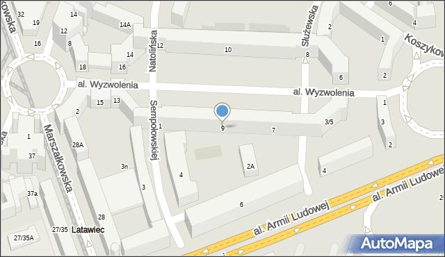 Warszawa, Aleja Wyzwolenia, 9, mapa Warszawy