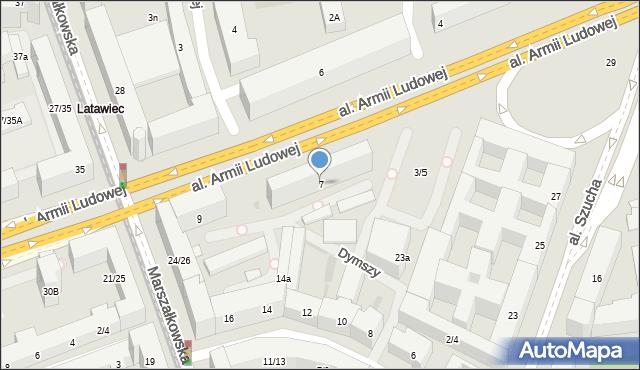 Warszawa, Aleja Armii Ludowej, 7, mapa Warszawy