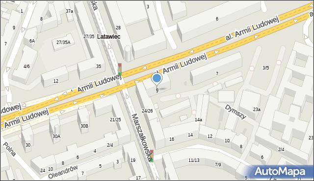 Warszawa, Aleja Armii Ludowej, 9, mapa Warszawy