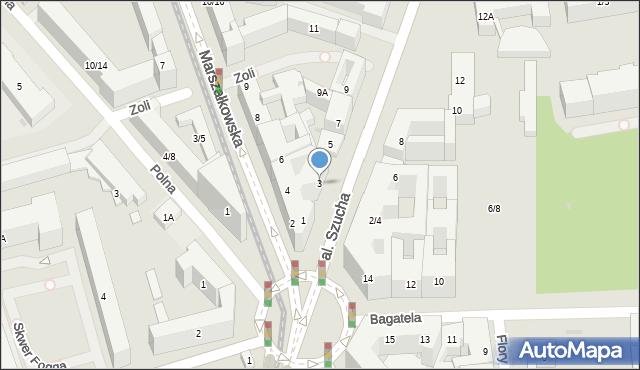 Warszawa, Aleja Szucha Jana Chrystiana, 3, mapa Warszawy