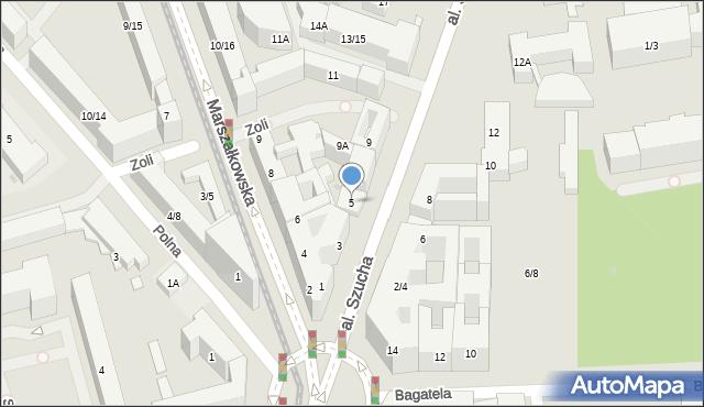 Warszawa, Aleja Szucha Jana Chrystiana, 5, mapa Warszawy