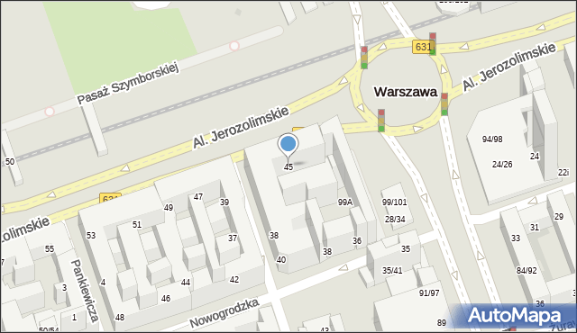 Warszawa, Aleje Jerozolimskie, 45, mapa Warszawy