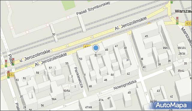 Warszawa, Aleje Jerozolimskie, 51, mapa Warszawy