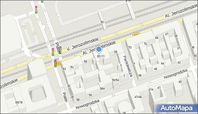 Warszawa, Aleje Jerozolimskie, 57, mapa Warszawy