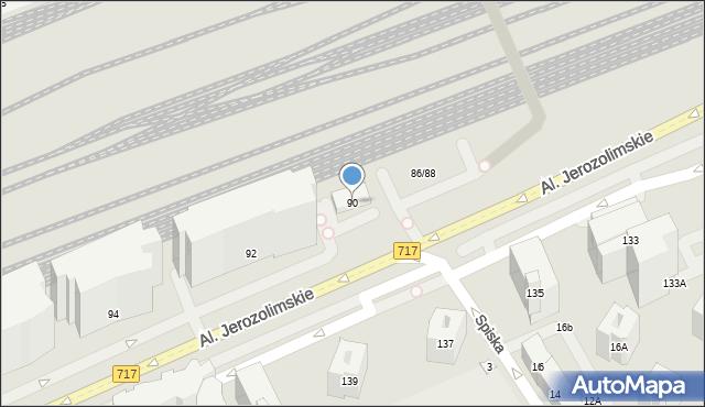 Warszawa, Aleje Jerozolimskie, 90, mapa Warszawy