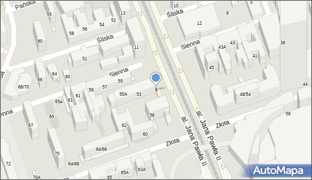 Warszawa, Aleja Jana Pawła II, 9, mapa Warszawy