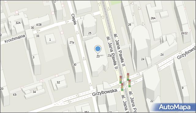 Warszawa, Aleja Jana Pawła II, 23, mapa Warszawy