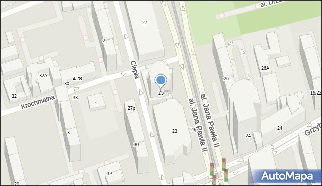 Warszawa, Aleja Jana Pawła II, 25p, mapa Warszawy