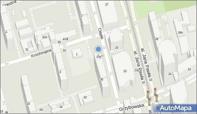 Warszawa, Aleja Jana Pawła II, 27p, mapa Warszawy