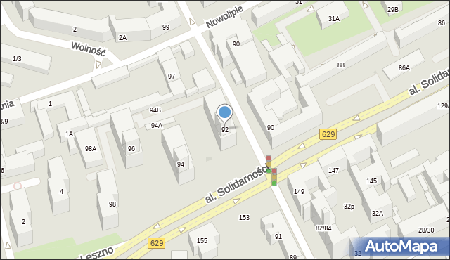 Warszawa, Aleja Solidarności, 92, mapa Warszawy