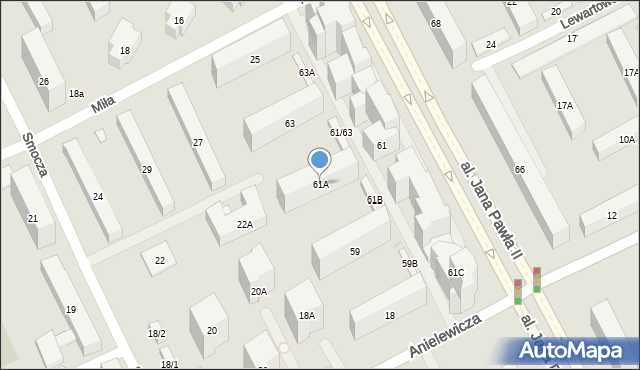 Warszawa, Aleja Jana Pawła II, 61A, mapa Warszawy