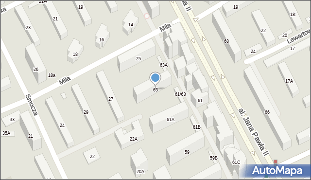 Warszawa, Aleja Jana Pawła II, 63, mapa Warszawy