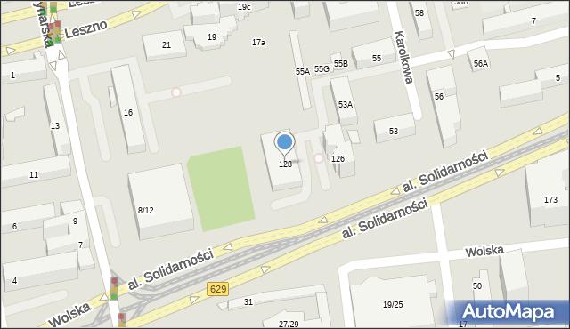 Warszawa, Aleja Solidarności, 128, mapa Warszawy
