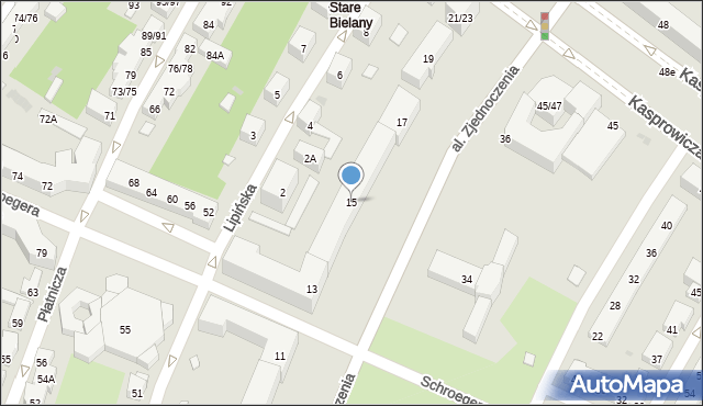 Warszawa, Aleja Zjednoczenia, 15, mapa Warszawy