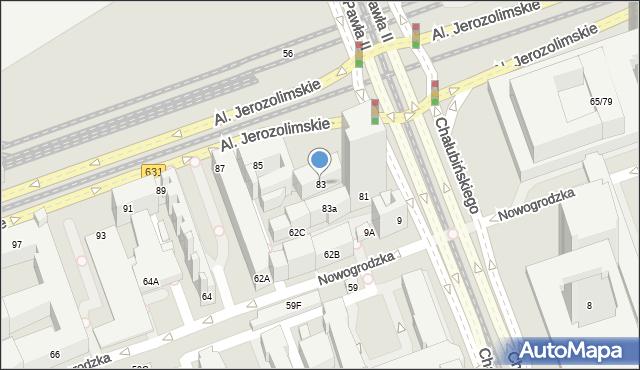 Warszawa, Aleje Jerozolimskie, 83, mapa Warszawy