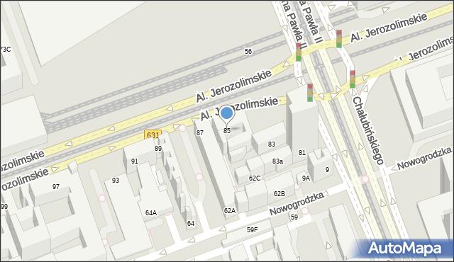 Warszawa, Aleje Jerozolimskie, 85, mapa Warszawy