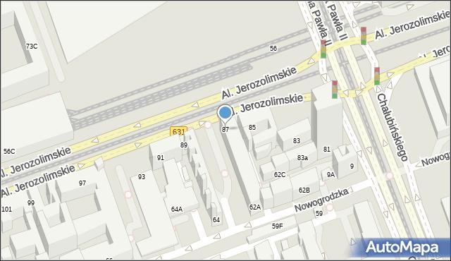 Warszawa, Aleje Jerozolimskie, 87, mapa Warszawy