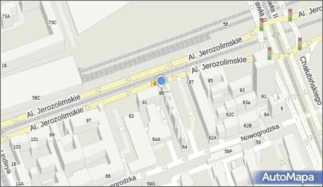 Warszawa, Aleje Jerozolimskie, 89, mapa Warszawy