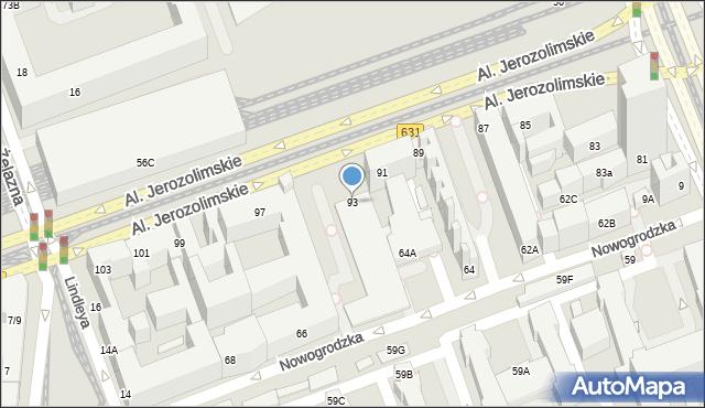 Warszawa, Aleje Jerozolimskie, 93, mapa Warszawy