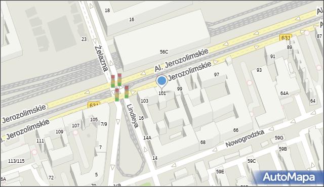 Warszawa, Aleje Jerozolimskie, 101, mapa Warszawy