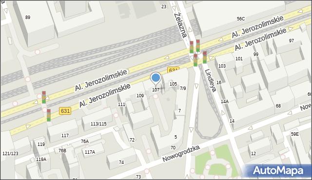 Warszawa, Aleje Jerozolimskie, 107, mapa Warszawy