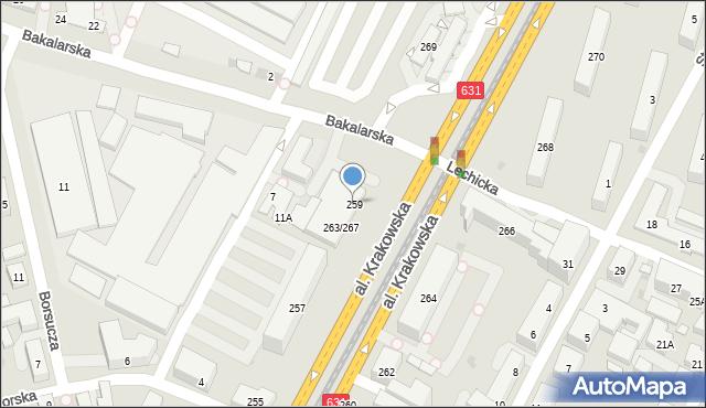 Warszawa, Aleja Krakowska, 259, mapa Warszawy