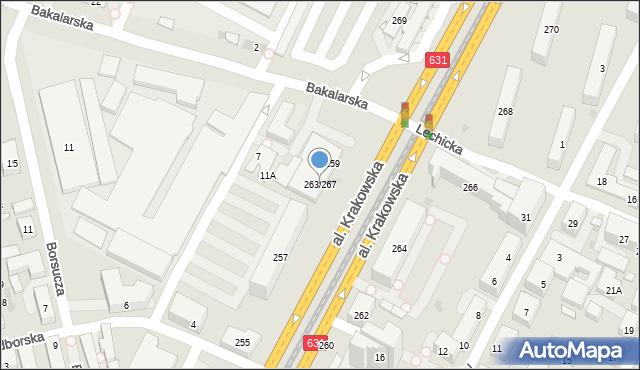 Warszawa, Aleja Krakowska, 263/267, mapa Warszawy